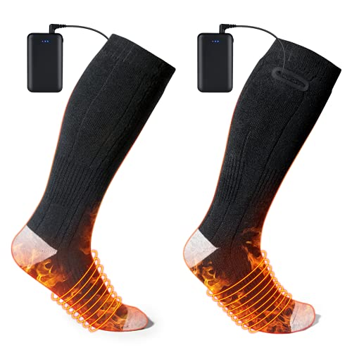 Heated Socks for Men or Women, Lupantte Rechargeable Washable Electric Heated Socks for Outdoors, 3 Heating Settings with 4500 MAh Battery Lasts Up to 10 Hours