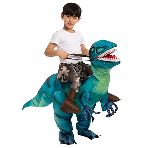 Spooktacular Creations Aufblasbares Dinosaurier Kostüm mit LED Licht Augen, auf einem Dinosaurier reiten, Deluxe Halloween-Kostüm für Kinder Unisex