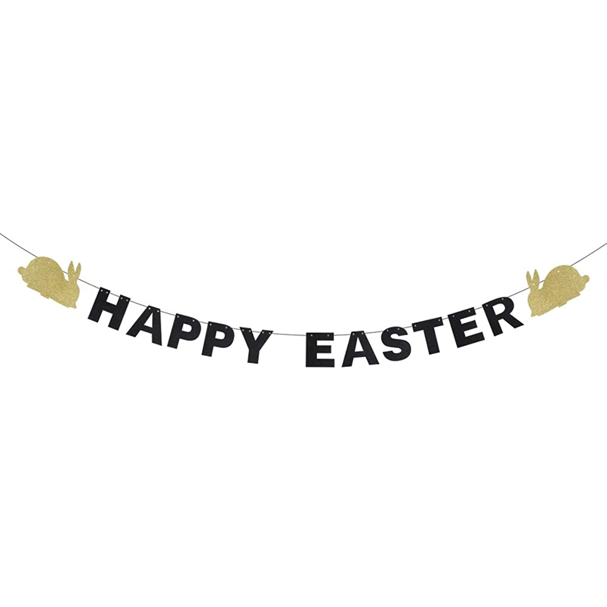 Happy Easter Banner - Garland Sign Rabbit Bunny Glitter Décor - Favors Easter Themes Ideas Backdrops Decorations - Celebration Latex-Easter Hanging House Suppiles