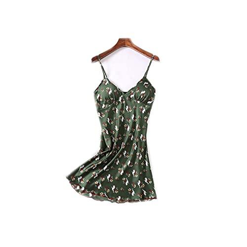 Bathrobe - Vestido de satén para mujer, sexy, satén, íntimo, ropa de noche Green F L