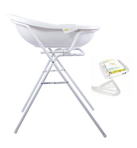OKT Kids Disney Winnie l'Ourson ensemble pour bébé comprenant une baignoire 84 cm + Support baignoire + Tuyau de drainage + Gant de toilette Blanc