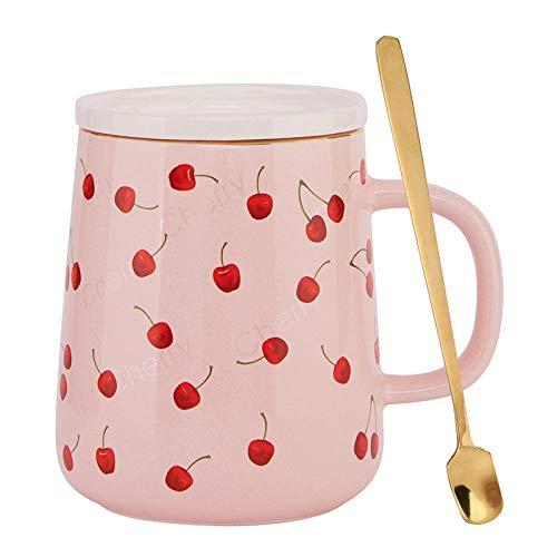 POYANG Tasse créative Tasse de Petit-déjeuner Tasse de café en céramique de Bureau de Couple Mignon avec cuillère à Couvercle 500 ML-Coupe Cerise Rose