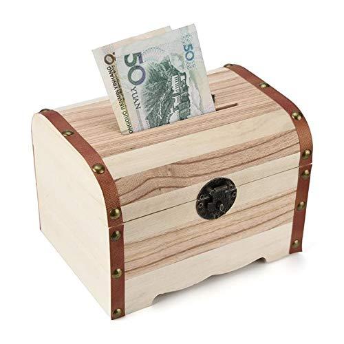 POJAP multifunctionele schatkist van hout, kluis, geldkist, piggy bank/muntenbank-kist, hoofddecoratie