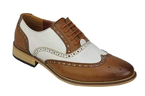 Zapatos clásicos de piel para hombre con forro de 2 tonos, para oficina, trabajo formal y con cordones Oxford, color Blanco, talla 38 EU