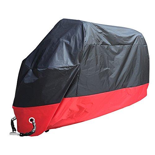 Rusee belüftete Motorrad Abdeckplane Abdeckung Motorradplane Cover Roller Regenschutz, Wetterdicht Wasserdicht Staubdicht Sunblocker (XL, Schwarz-Rot)