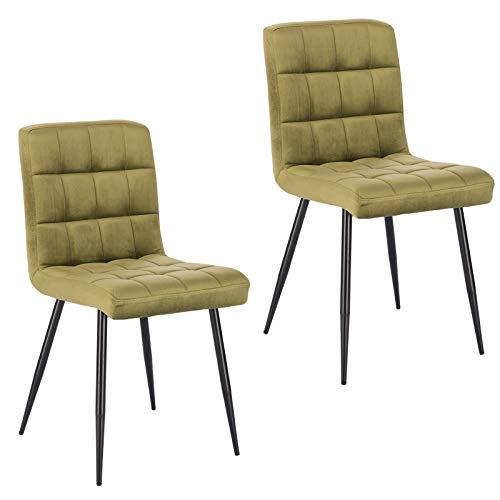 Lestarain 2X Sillas de Comedor Silla de Salón Dining Chairs Tapizadas Sillas de Cocina Nórdicas Asiento de Terciopelo Silla Bar Metal Silla de Oficina Verde Oscuro