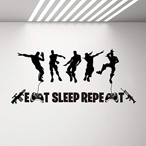 Eat Sleep Repeat Wandtattoo Für Jungen Schlafzimmer Floss Dance Game Quote Wandaufkleber Charakter Wandbild Aufkleber Decals Größe:42 * 84cm Schwarz