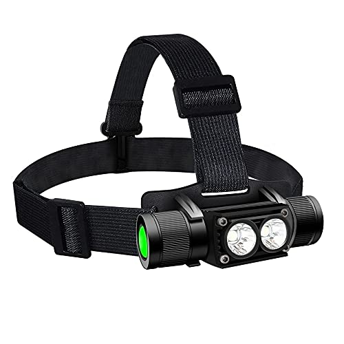 Rechargeable LED Headlamp 1200 Lumen Tactical Headlamp 2200 mAh Rechargeable Headlamp Powerful Headlamp for Adults Durable Waterproof Hard Hat Light for Hiking Hunting Exploring Camping Running