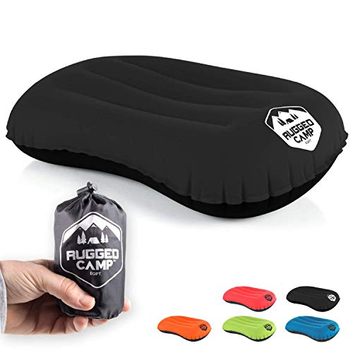 Camping Pillow - Ultralight Inflatable Travel Pillows - Multiple Colors - Compressible, Lightweight, Ergonomic Neck & Lumbar Support - Perfect for Backpacking or Airplane Travel (Black / Black)