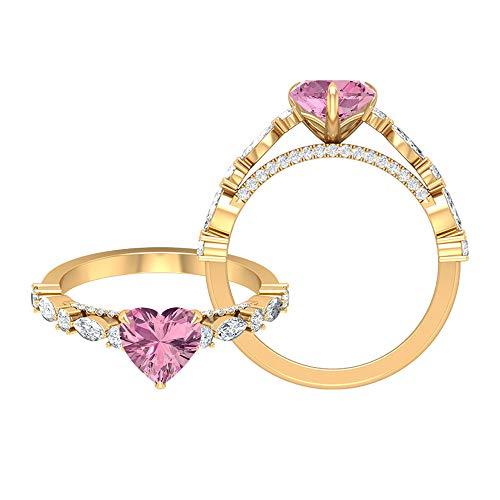 Anillo de compromiso solitario de turmalina rosa con forma de corazón, 7 mm, anillo de compromiso de moissanita de 1/2 quilates, oro amarillo de 14 quilates, tamaño: UK W