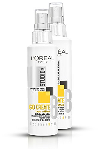 "L'Oréal Paris Studio Line - Spray fissante per acconciature, linea: ""Studio Line - Go Create"", fissaggio ultra-forte, set di 2 da 150 ml"