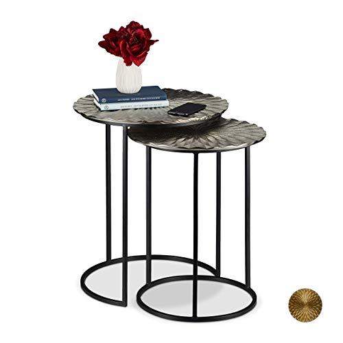 Relaxdays Set 2 Mesas Auxiliares Redondas, Mesitas Nido Decorativas, 50,5 cm, Hierro y Aluminio, Plateado y Negro, 56 y 46,5 cm
