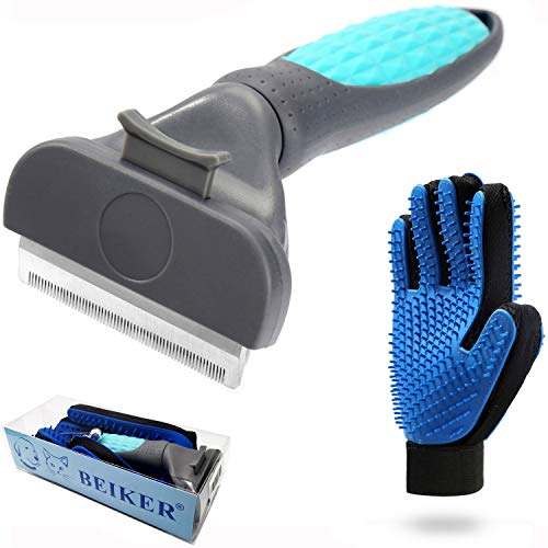Beiker Self Cleaning Pet DeShedding Brush Set for Dog amp Cat Professional Pet Grooming Tool Kit for Long  Short Haired Pets Reduces Shedding by up to 98% Puppy Hair Remover Comb Soft Rubber Glove