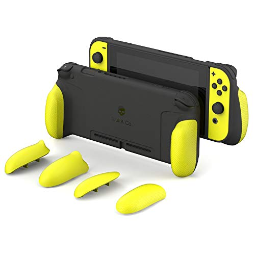 Skull & Co. GripCase: A Dockable Protective Case with Replaceable Grips [to fit All Hands Sizes] for Nintendo Switch [No Carrying Case] - Neon Yellow [Arms Edition]