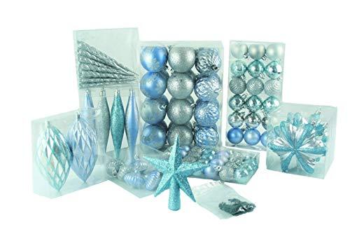 Geschenkestadl 100 teilig Weihnachtskugel bis Ø 6 cm 2-Farben (Blau Silber)