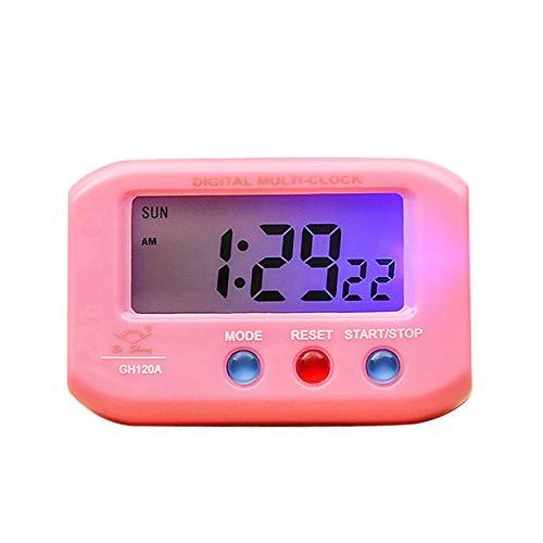 NXSP Mini digitale achtergrondverlichting LED-display wekker, sluimerkalender draagbare elektronica met heldere roze