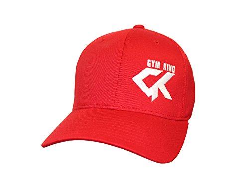 Gym King Baseball Cap Full Fitted Cap Herren Mütze in verschied. Farben u. Größen (Rot/Weiss, XS/S)