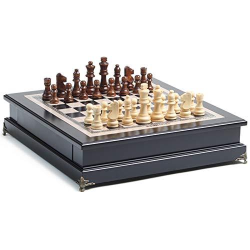 YLiansong-home Ajedrez Hecho a Mano Juego de Adultos de ajedrez de Madera Decoración Especial Decoración de decoración Grande de ajedrez Infantil sólido de Gama Alta Conjuntos de ajedrez