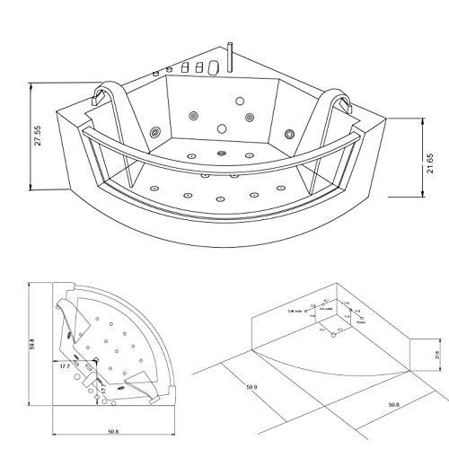 SIMBASHOPPING USA Whirlpool Bathtub Hydrotherapy White Hot tub 2 Person 59.8