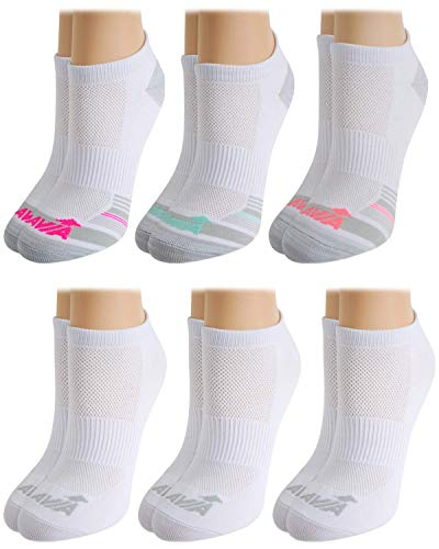 Avia Women's Pro Tech Performance Moisture Wicking Athletic No Show Socks (6 Pack), Size Shoe Size: 4-10, Formal White