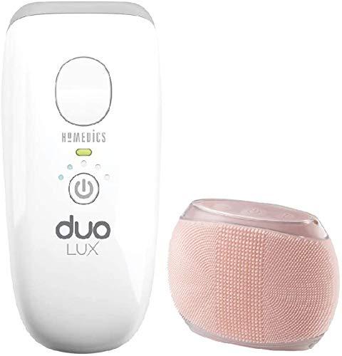 Homedics Duo Lux Bundle, Depiladora de luz pulsada con 300.000 flashes, 5 julios de poder, IPL + AFT Dual Technology, cepillo para el cuerpo incluido