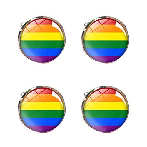 Toyvian 2 Paar Regenbogen Manschettenknöpfe Homosexuell Lesben Stolz Manschettenknöpfe Anzüge Hemden Schmuck für Hochzeitstreffen Geschäft
