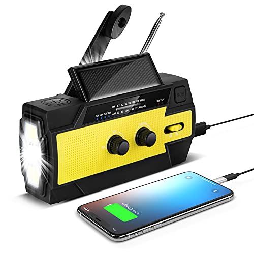 Radio Solaire à Manivelle Portable Radio Qoosea Dynamo Rechargeable avec AM/FM/WB Batterie Rechargeable Intégrée 5800mAh 4 Modes Lampe de Poche LED Alarme SOS pour Urgence en Plein Air