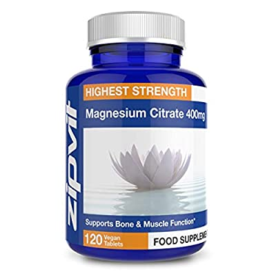 Magnesium Citrate 400mg, 120 Vegan Tablets. Supports Muscle and Bone Health. Vegetarian Society Approved.
