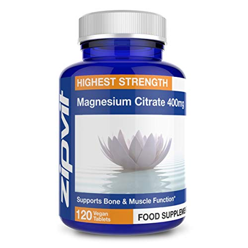 Magnesium Citrate 400mg, 120 Vegan Tablets. Supports Muscle and Bone Health. Vegetarian Society Approved