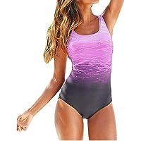 Sweetneed Bañadores de Mujer Traje de una Pieza con Relleno Bañador Push up Ropa de Baño Cintura Alta Size Gradiente de Color Cruz Atrás Slim Fit Cuerpo Atractivo Bañera Bikini (2XL(14-16), Morado)