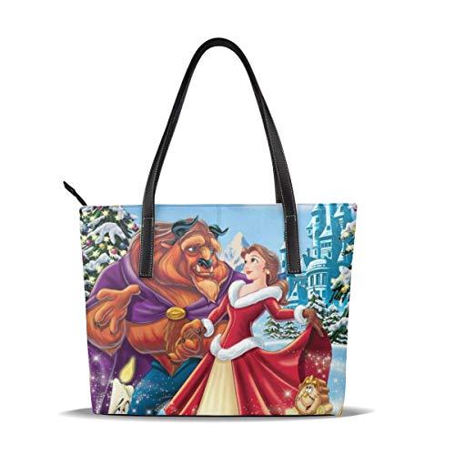 Die Schöne und das Biest Damen Handtasche aus Mikrofaser-Leder mit Reißverschluss für Arbeit und Reisen.