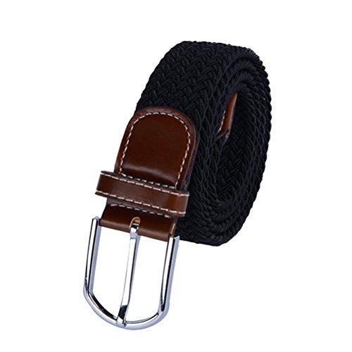 LuOEM Elastischer geflochtener Stretch-Gürtel für Männer und Frauen (schwarz)