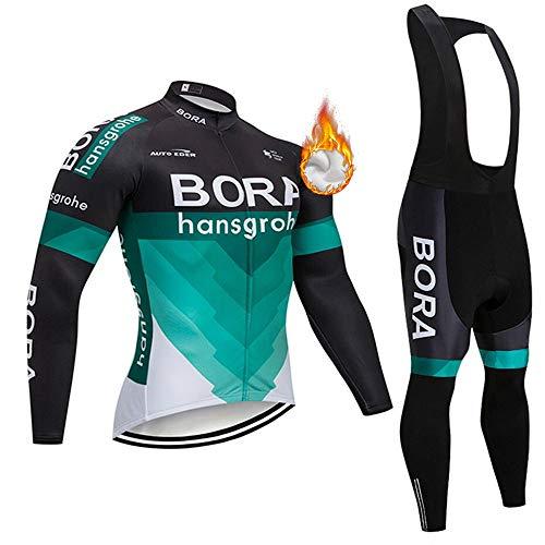 Maillot de Ciclismo para Hombre de Manga Larga de Forro Polar para Bicicleta de monta帽a de Carretera MTB
