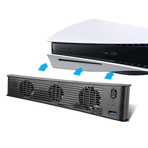 PS5 - Ventilador de refrigeración delgado con 3 ventiladores para consola de juegos, control de temperatura externo (edición mejorada)