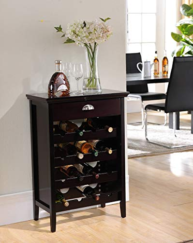 Kings Brand Furniture Wood Buffet Wine Rack Cabinet with Drawer, Dark Cherry, 24' W x 13' D x 34.125' H (WR1343)