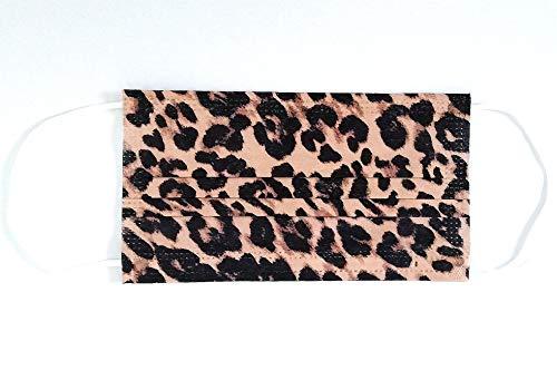 La Loria 10x Einweg Mund-Nase-Bedeckung - Mundschutz, Staubschutz, Bandana, Halstuch, Unisex, Einheitsgröße (Leoprint)