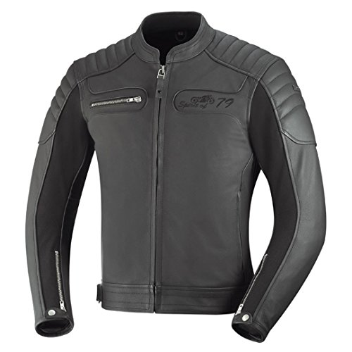 Chaqueta de cuero para moto IXS Quentin color negro