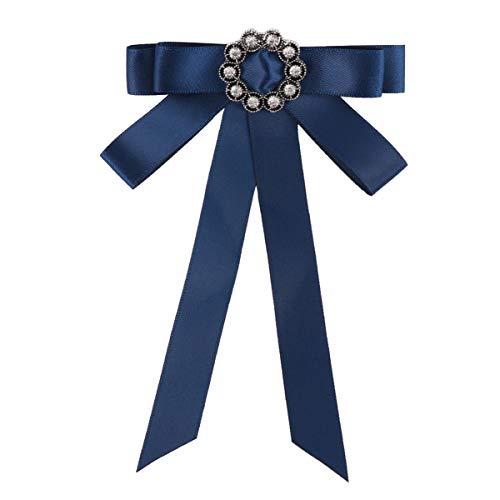 KESYOO Fliege Knoten Krawatte Brosche Band Strass Brosche Pin Vorgebundene Fliege Hochzeitsfeier Krawatte Hemd Hemd Kragen für Frauen Mädchen Bridemate (Blau)