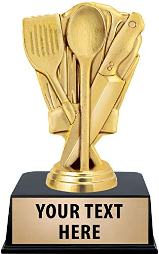 Crown Awards Cooking Trophies with Custom Engraving, 6' Personalized Gold Chef Hat Cooking Competition Trophy On Black Base 1 Pack Prime