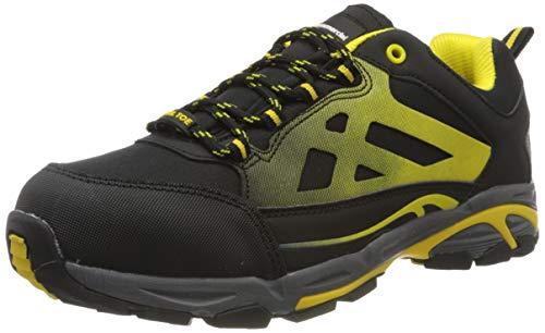 AmazonCommercial – Calzado de seguridad con puntera de acero para hombre y mujer, zapatillas protectoras para la industria, zapatillas de trabajo para la construcción, negro/amarillo, talla 44