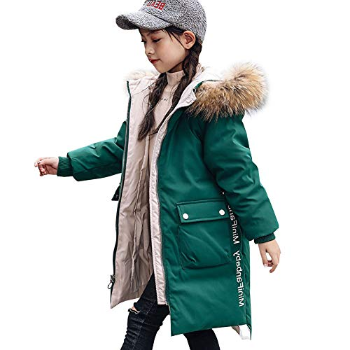 YFPICO Mädchen Mode Winterjacke mit Echt Fell Kinder Warm Verdickte Daunenjacke Daunenjacke Wintermantel Parka, Grün, 146 (Etikettengröße:150)