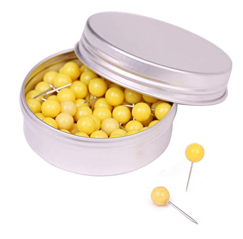 Tupalizy 100PCS 1/4 Inch Small Round Head Map Tacks Pins for Home Office Bulletin Cork Board Use and DIY Craft Project (Yellow)