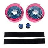 1 Par de Envoltura de Cinta de Manillar de Bicicleta de Carretera con Enchufes - Azul y Rosa