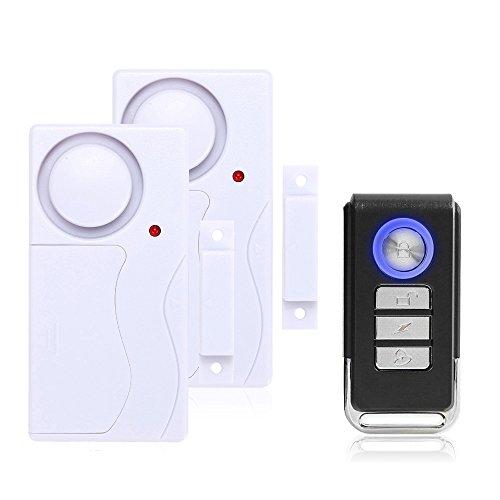 Mengshen Alarma de Puertas y Ventanas - Alarma Antirrobo Inalámbrica con Control Remoto, Fácil De Instalar, 105db (Incluye 2 Alarma y 1 Control Remoto)