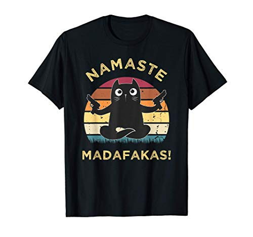 Namaste madafakas Pew Katze Yoga Cat Vintage Funny T-Shirt