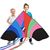 Stoie's Huge Rainbow Kite for Kids and Adults–1.6M Wide–100 Meter String–Rainbow color-Built to