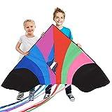 Tomi Kite–Riesiges Regenbogen Drachen, Ideal per Kinder und Erwachsene–Lenkdrachen - Einfach zu fliegen bei starkem Wind oder leichter Brise–1,5 M breit–100 Meter Schnur–6 Schnuren–Hergestellt zur Dauerhaftigkeit