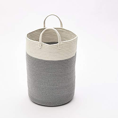 Panier de rangement tissé - Corde de rangement et organisateur pour linge, jouets et couvertures de bébé (gris, L)