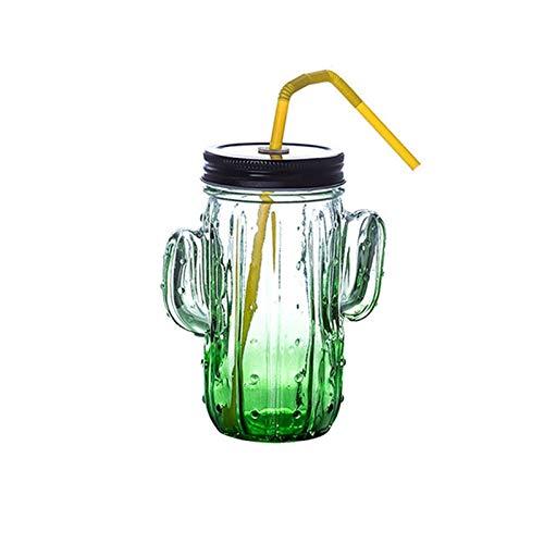 Enemy Cactus Copa de Cristal, Jugo monocapa Taza de Leche de Desayuno Copa con Tapa, Taza del Agua de refrigeración de la Cerveza Bebidas Vidrio con la Paja for Summer Party (Color : Green)