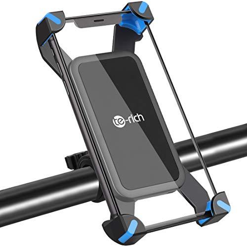 Te-Rich スマホホルダー 自転車 脱落防止 振れ止め 直径18-35mm galaxy/iphone/xperia/aquos 3.5-7inch対応 スマホスタンド (ブルー)